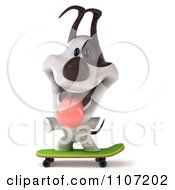 Clipart 3d Jack Russell Terrier Dog Skateboarding 2 Royalty Free CGI Illustration