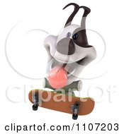 Clipart 3d Jack Russell Terrier Dog Skateboarding 3 Royalty Free CGI Illustration