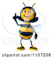 Clipart 3d Female Bee Pointing Upwards Royalty Free CGI Illustration