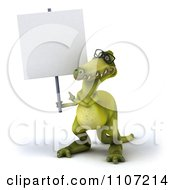 Clipart 3d Dinosaur Wearing Glasses With A Sign 1 Royalty Free CGI Illustration