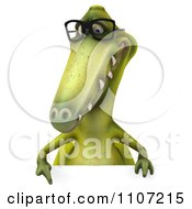 Clipart 3d Dinosaur Wearing Glasses With A Sign 2 Royalty Free CGI Illustration