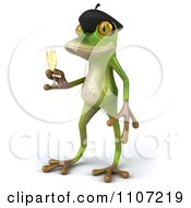 Clipart 3d French Springer Frog Toasting With Champagne 2 Royalty Free CGI Illustration