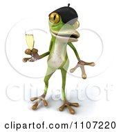 Clipart 3d French Springer Frog Toasting With Champagne 3 Royalty Free CGI Illustration