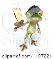 Clipart 3d French Springer Frog Toasting With Champagne 4 Royalty Free CGI Illustration