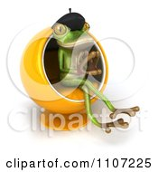 Clipart 3d French Springer Frog Thinking And Sitting In A Pod Chair 2 Royalty Free CGI Illustration