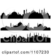 Clipart Black And White Silhouetted Mosque Banners Royalty Free Vector Illustration