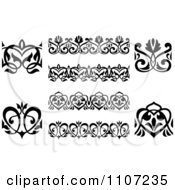 Clipart Black And White Victorian Floral Borders And Design Elements 3 Royalty Free Vector Illustration