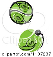 Clipart Tennis Rackets And Balls With Green Courts Royalty Free Vector Illustration
