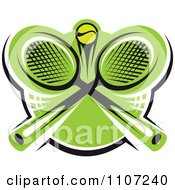 Clipart Green Tennis Ball And Crossed Rackets 2 Royalty Free Vector Illustration