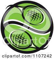 Clipart Green Tennis Racket Yin Yang Ball Royalty Free Vector Illustration