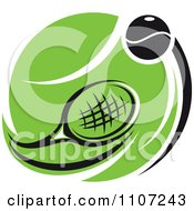 Clipart Tennis Racket And Ball Over A Green Court Royalty Free Vector Illustration