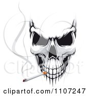 Clipart Evil Skull Smoking A Cigarette Royalty Free Vector Illustration