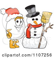 Clipart Egg Mascot Character With A Christmas Snowman And Santa Hat Royalty Free Vector Illustration by Toons4Biz