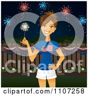 Patriotic American Woman Holding A Sparkler Under Independence Day Fireworks