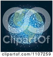 Clipart Blue And Green Fireworks Exploding With A Globe Visual In A Night Sky Royalty Free Vector Illustration