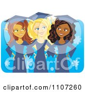 Three Happy Graduate Women Linking Arms And Smiling Over Blue