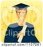 Clipart Handsome Male Graduate Holding A Diploma With People Celebrating In The Background Royalty Free Vector Illustration by Character Market