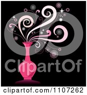 Clipart Magic Swirls Over A Pink Genie Bottle On Black Royalty Free Vector Illustration by Amanda Kate #COLLC1107262-0177