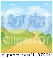 Clipart Path Through A Hilly Park With A City Skyline Background Royalty Free Vector Illustration