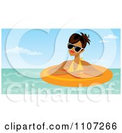 Clipart Relaxed Hispanic Woman Wearing Shades And Floating In An Inner Tube Royalty Free Vector Illustration