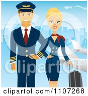 Beautiful Blond Female Flight Attendant Posing With Luggage And A Pilot Near Planes With A Blue City