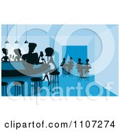Clipart Silhouetted Flirty Male Bartender Filling A Womans Drink At A Night Club Bar Royalty Free Vector Illustration