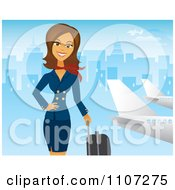 Beautiful Brunette Female Flight Attendant Posing With Luggage Near A Plane With A Blue City