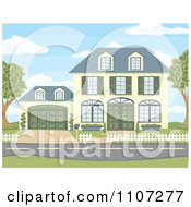 Clipart Yellow Two Story House With Green Shutters And Doors And An Attached Garage Royalty Free Vector Illustration