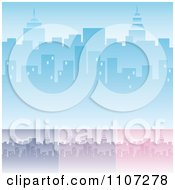 Clipart Blue Purple And Pink City Skyline Backgrounds With Highrises And Skyscrapers Royalty Free Vector Illustration