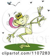 Clipart Hungry Green Frog Trying To Catch Flies Royalty Free Vector Illustration by Dennis Holmes Designs