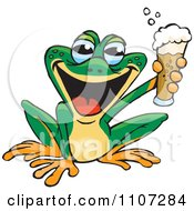 Clipart Happy Green Frog Holding Up A Beer Royalty Free Vector Illustration