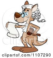 Clipart Kangaroo Judge Wearing A Wig Holding A Gavel And Reading A Document Royalty Free Vector Illustration