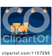 Clipart Server Carrying Cocktail Glasses On A Tray Under Lights Over Blue Royalty Free Vector Illustration by Amanda Kate