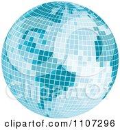 Clipart Blue Mosaic Disco Ball Earth Royalty Free Vector Illustration by Amanda Kate #COLLC1107296-0177