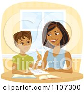 Clipart Happy Black Woman Homeschooling Her Son Royalty Free Vector Illustration by Amanda Kate