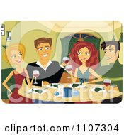 Clipart Happy Couples Toasting With Red Wine At A Dinner Party Royalty Free Vector Illustration