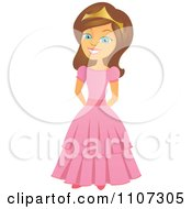 Clipart Happy Princess Girl With Her Hands Behind Her Back Royalty Free Vector Illustration