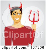 Clipart Grinning He Devil With Horns And A Trident Royalty Free Vector Illustration