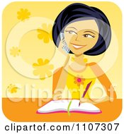 Happy Asian Girl Talking On A Cell Phone And Writing In Her Diary Over Yellow Flowers