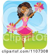 Clipart Black Teenage Cheerleader Jumping With Pom Poms Outdoors Royalty Free Vector Illustration