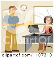 Clipart Happy Coworkers Exchanging Files In An Office Royalty Free Vector Illustration by Amanda Kate