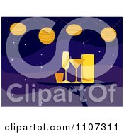 Clipart Server Carrying Cocktail Glasses On A Tray Under Lights Over Purple Royalty Free Vector Illustration by Amanda Kate