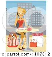 Happy Blond Woman Chatting On Her Cellphone With Shopping Bags And Her Dog In A Purse At Her Feet While Resting At An Outdoor Cafe In A City