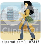 Happy Woman Walking With A Coffee Through A City