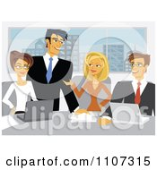 Clipart Enthusiastic Business Teem Meeting In A City Office Royalty Free Vector Illustration by Amanda Kate #COLLC1107315-0177