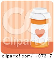 Bottle Of Heart Medication Pills With A Heart Over Pink Stripes