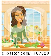 Beautiful Hispanic Woman Chopping Veggies In A Kitchen