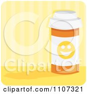 Clipart Bottle Of Anti Depressant Happy Pills With A Smiley Face Over Yellow Stripes Royalty Free Vector Illustration