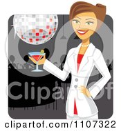 Clipart Beautiful Businesswoman Holding A Martini Under A Disco Ball At A Bar Happy Hour Royalty Free Vector Illustration by Amanda Kate
