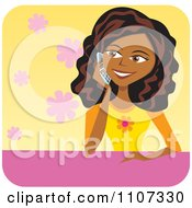 Clipart Pretty Black Teenage Girl Talking On A Cell Phone Royalty Free Vector Illustration